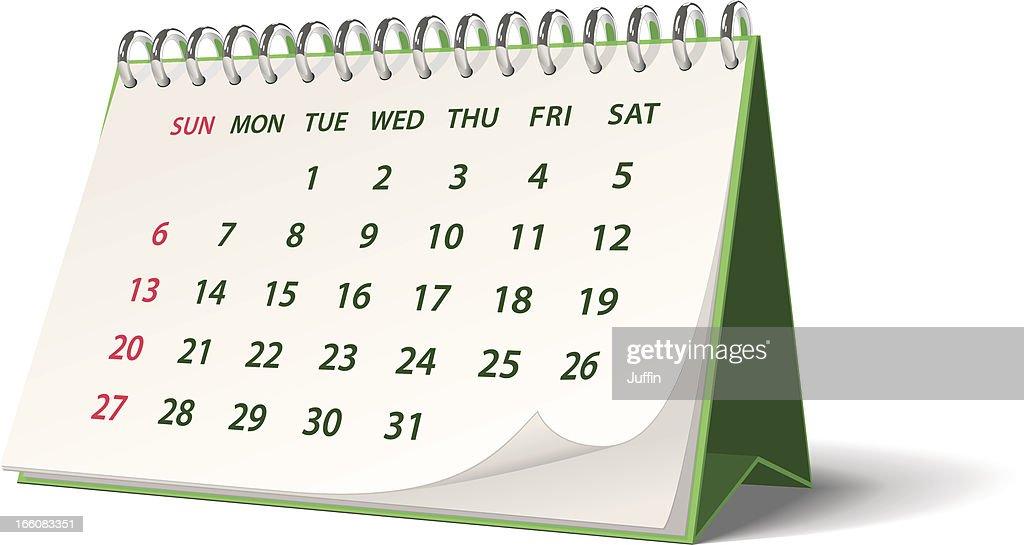 Green monthly spiral bound desk calendar : stock vector