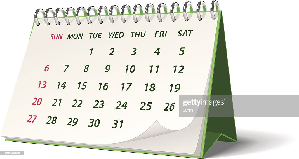 Green monthly spiral bound desk calendar
