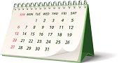 Green monthly spiral bound desk calendar