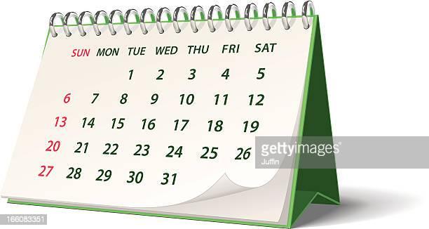 green monthly spiral bound desk calendar - 2012 2013年 キプロス財政危機 stock illustrations