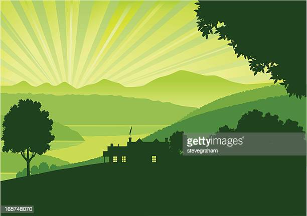 green morning - rolling landscape stock illustrations