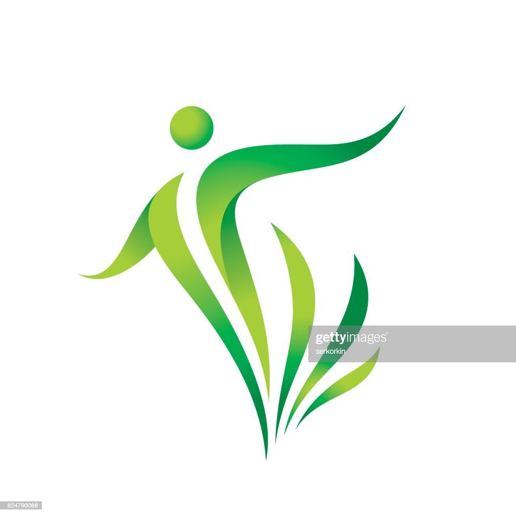Green nature vector icon template. Health sign. Fitness woman concept illustration. Human character with leaves. Freedom icon. Design element.