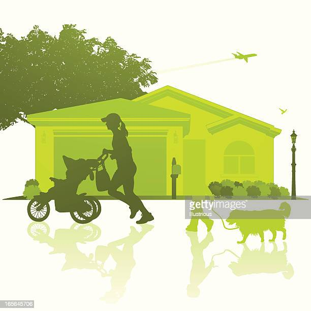 green neighborhood vector image isolated on white - three wheeled pushchair stock illustrations, clip art, cartoons, & icons