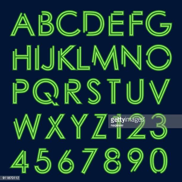 ilustrações, clipart, desenhos animados e ícones de neon verde brilhante letras e números - símbolo ortográfico