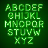 Green neon light glowing alphabet