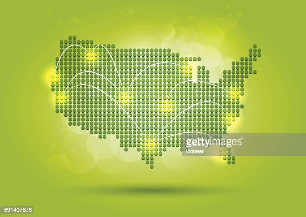Grünes Netzwerkkarte der USA auf glänzendem Hintergrund