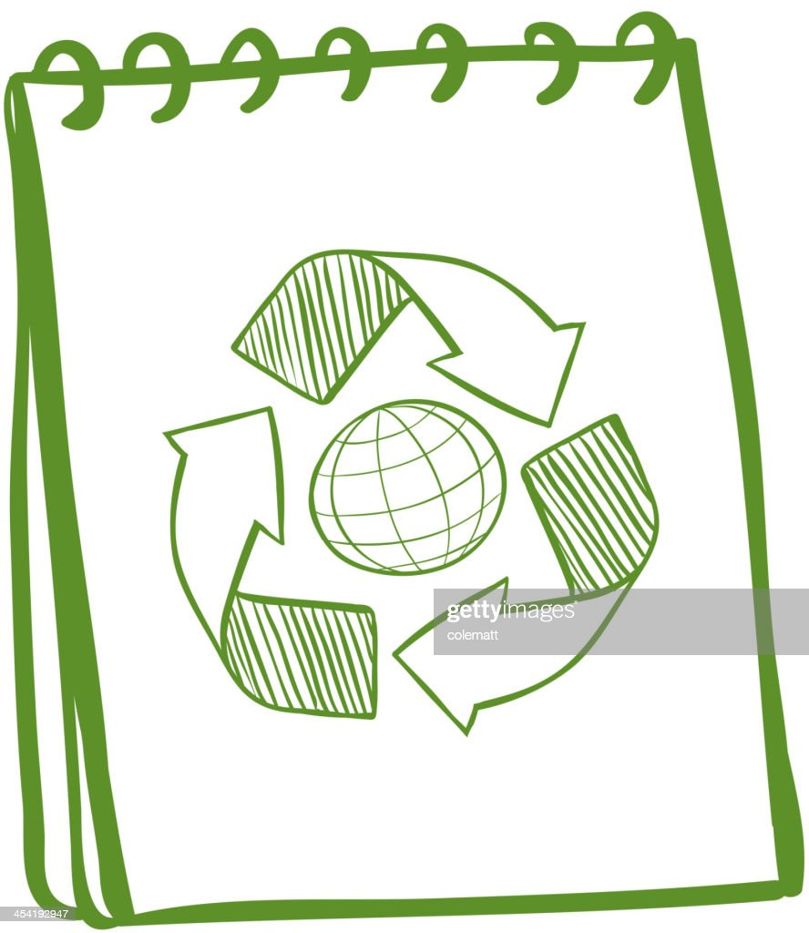 Green notebook with a drawing of the recycle symbol : Vector Art