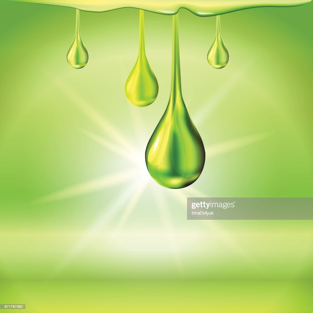 Green oil drops shiny sparkles