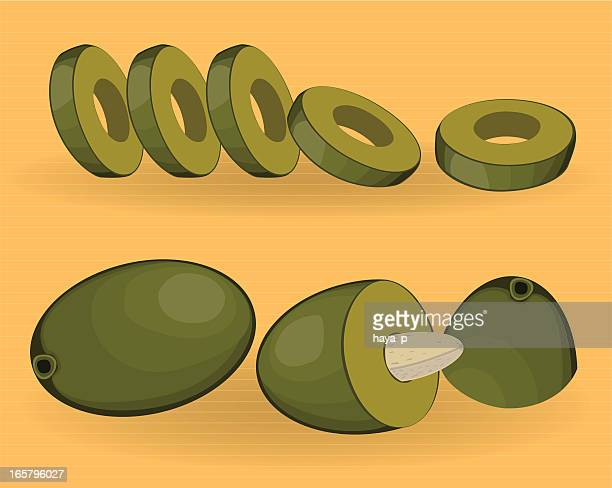 Green Olive, Half Of It And Slices