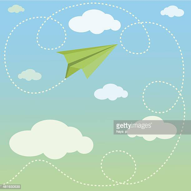 green paper airplane and its route in clouds - dotted line stock illustrations
