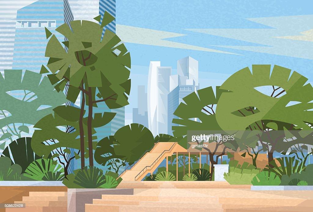 Green Park City Center Trees Vector : Vector Art