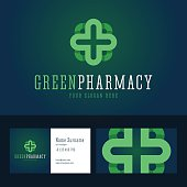 Green pharmacy emblem and business card template.
