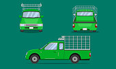 green pickup truck cab with car steel grating front side back view transport vector illustration eps10