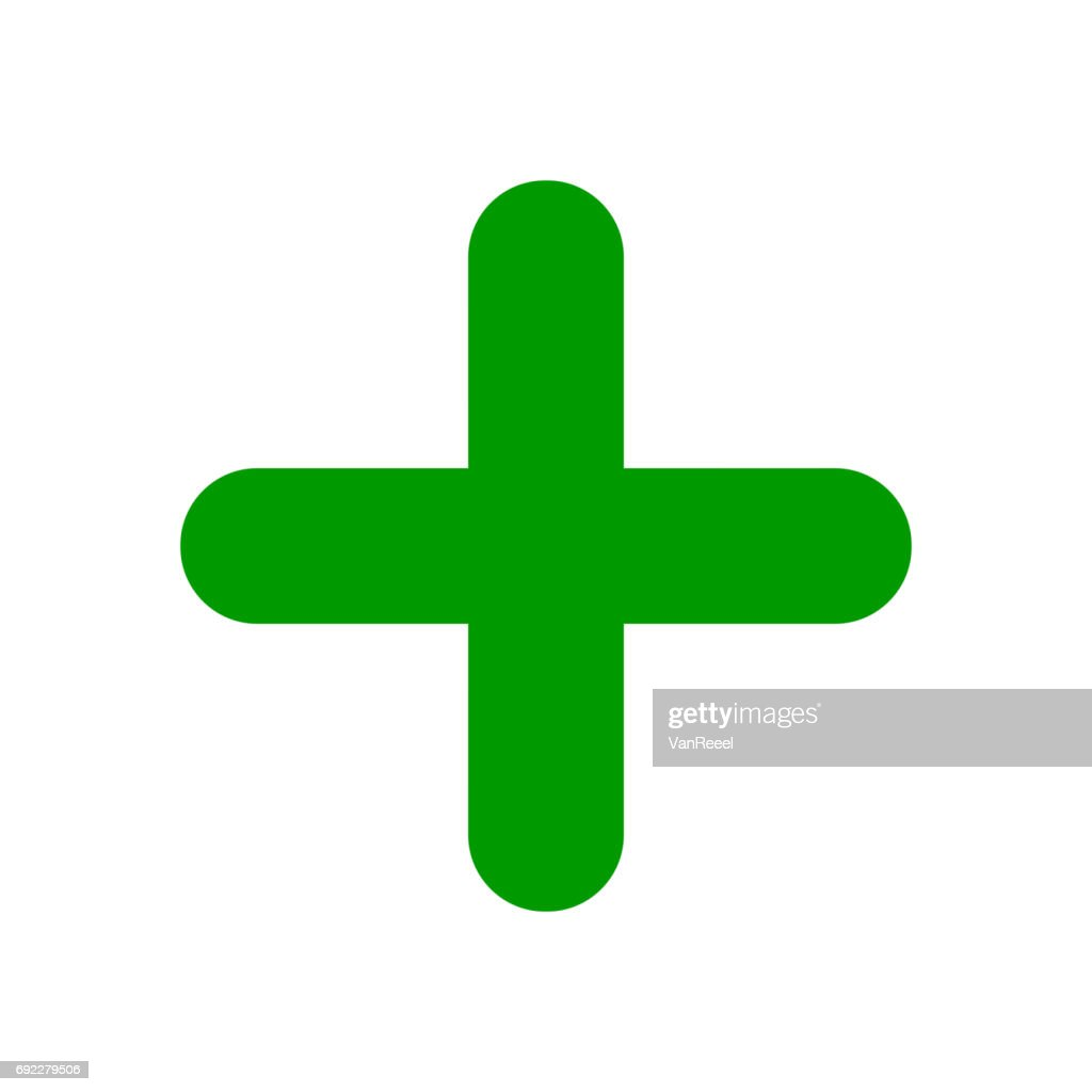 Green plus sign. Positive symbol.