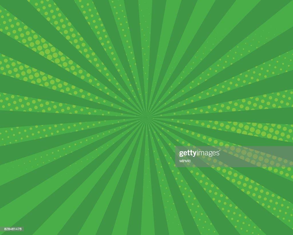 Green pop art comic background, vector illustration.