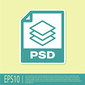 Green PSD file document icon. Download psd button icon isolated on yellow background. PSD file symbol. Vector Illustration