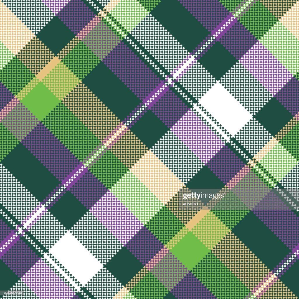 Green purple seamless pattern check fabric texture
