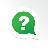 Green question mark in speech bubble icon