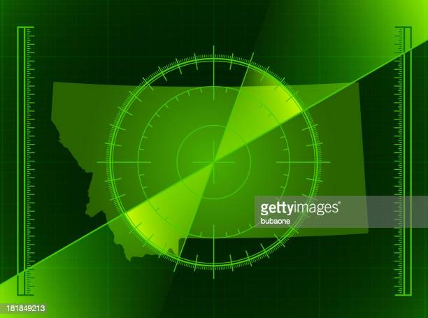 green radar screen and montana state map - rfid stock illustrations, clip art, cartoons, & icons