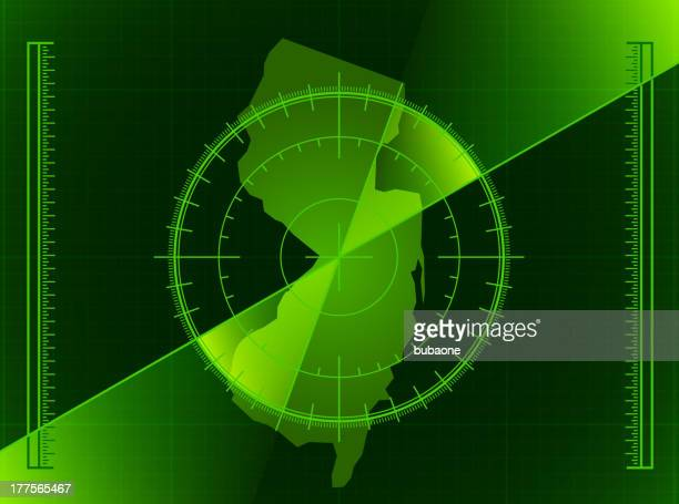 green radar screen and new jersey state map - rfid stock illustrations, clip art, cartoons, & icons