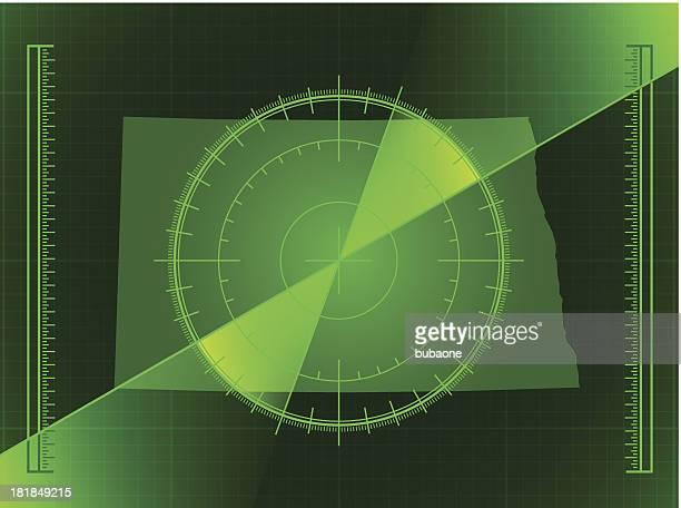 green radar screen and north dakota state map - rfid stock illustrations, clip art, cartoons, & icons