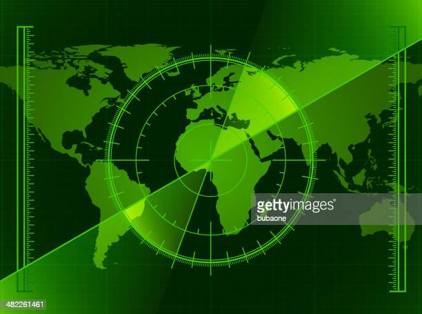 green radar screen and world map - co ordination stock illustrations