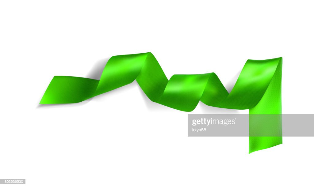 Green realistic silk vector ribbon