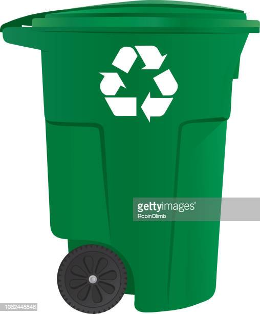 green recycle bin - recycling bin stock illustrations