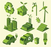 Green recycling icons against cream background