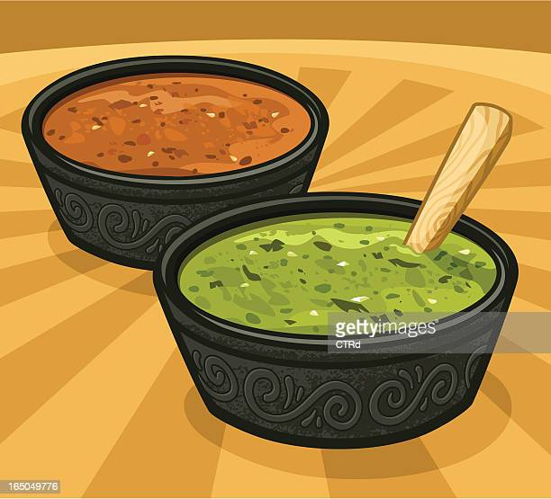 green & red salsas (hot spicy sauces) - dipping stock illustrations, clip art, cartoons, & icons