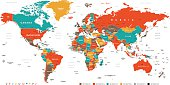 Green Red Yellow Brown World Map