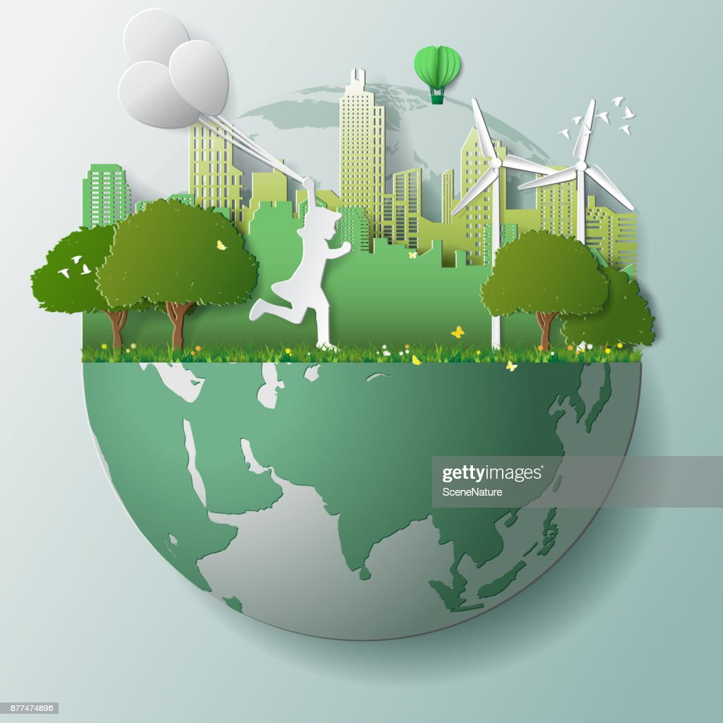 Green renewable energy ecology technology power saving environmentally friendly concepts, girl run and hold balloons in parks near city on globe