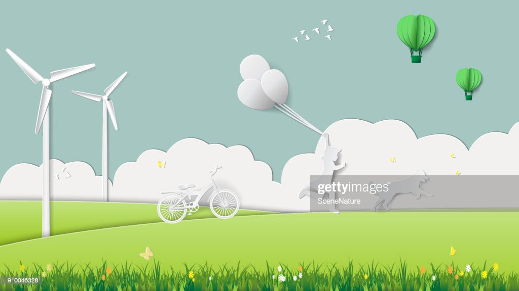 Green renewable energy ecology technology power saving environmentally friendly concepts, girl running with dog in meadow which full of wind turbine