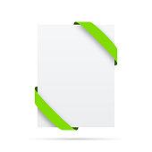 green ribbon blank vertical white label