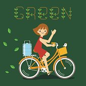 green ride bicycle delivery woman