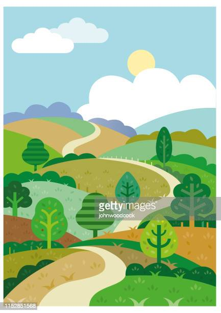 green rolling hills and road illustration - footpath stock illustrations