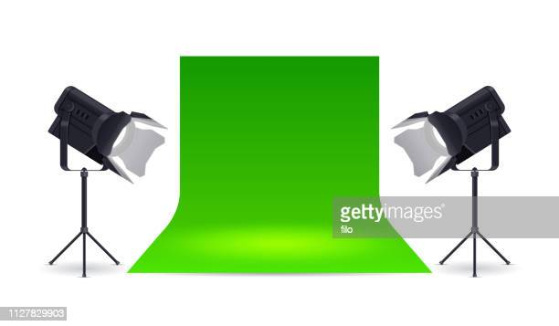 green screen studio - stage set stock illustrations