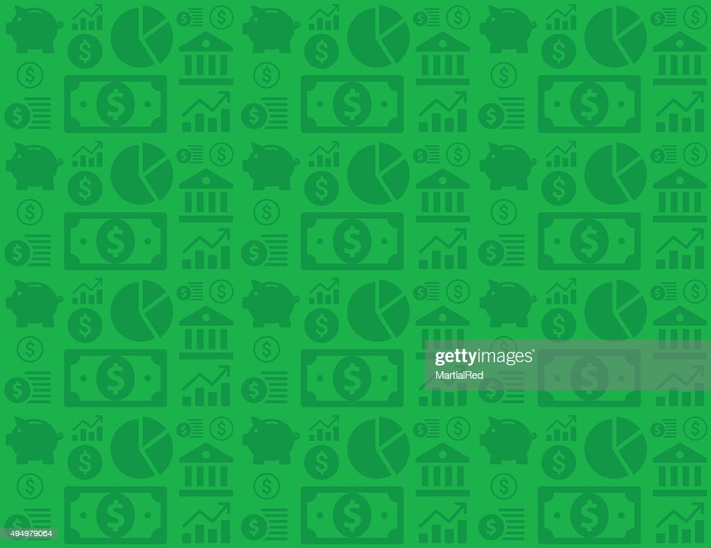 Green seamless financial business background pattern with money icons