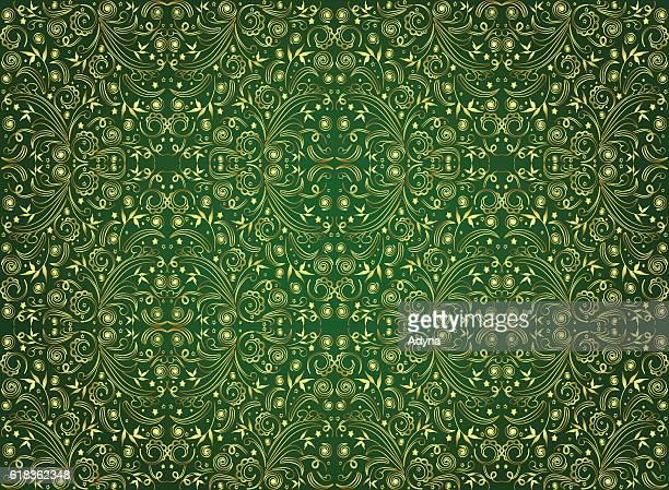 stockillustraties, clipart, cartoons en iconen met green seamless pattern - koningschap