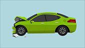green sedan car was severely damaged