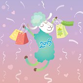 Green sheep with bags for shopping