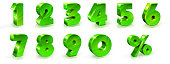 Green shiny numbers and percent sign set. 3d styled illustration