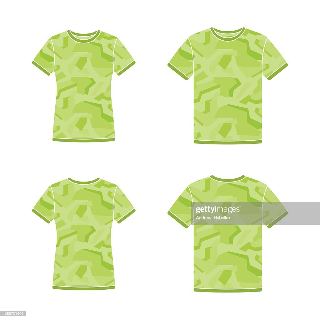 Green Short Sleeve Tshirts Templates With The Camouflage