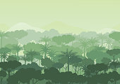 Green silhouette forest abstract background