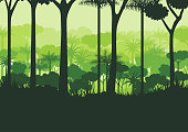 Green silhouette nature forest background