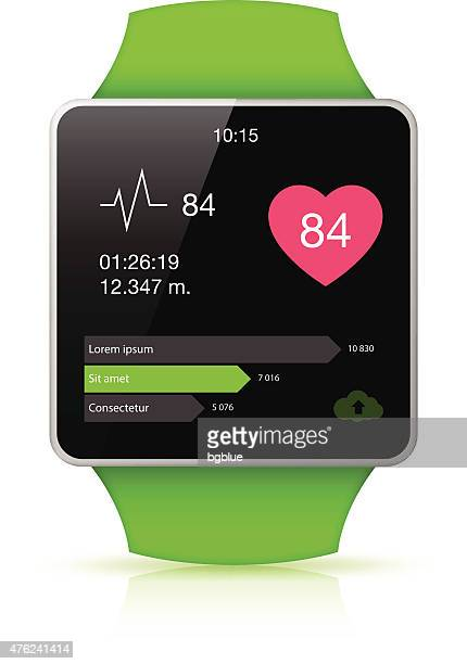 green smart watch with health app icon on the screen - smart watch stock illustrations