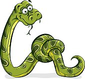 Green snake cartoon tied up in a knot, vector.