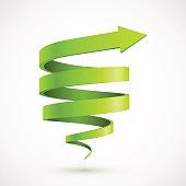 Green spiral arrow 3D