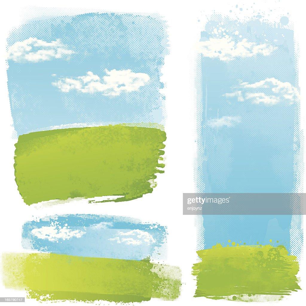 Green splash landscapes : stock illustration