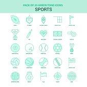 25 Green Sports Icon set